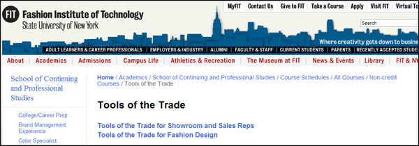 Fashion Institute of Technology Tools of the Trade