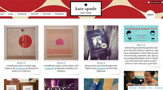 Kate Spade Tumblr Page