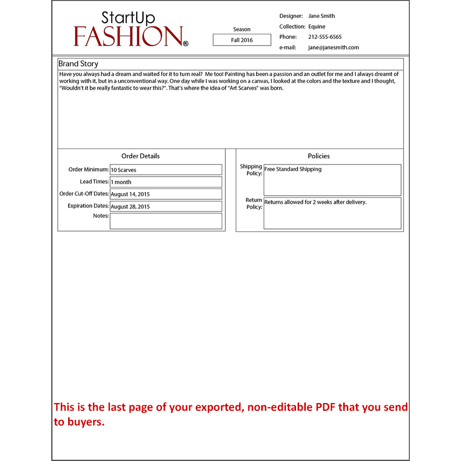 clothing line sheet template - line sheet template exported page 2 startup fashion