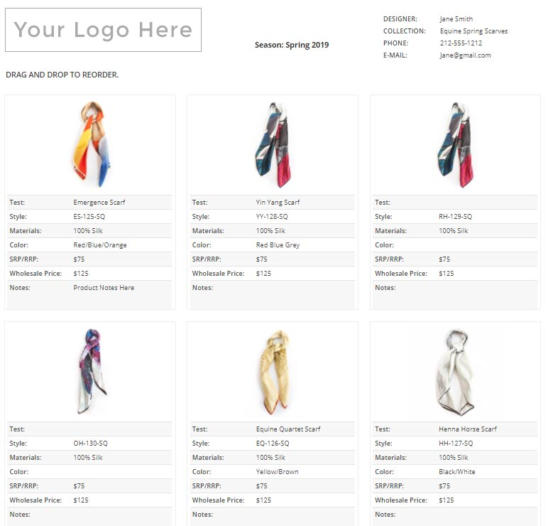 how to create a line sheet for wholesale