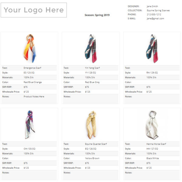 Wholesale Line Sheet Template 2