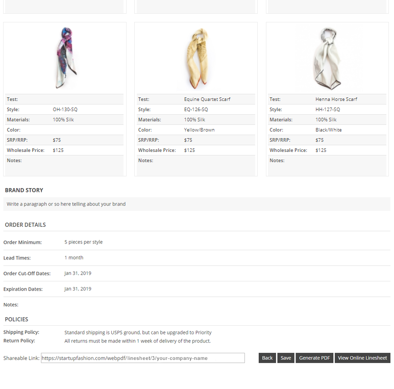 Wholesale Line Sheet Template | StartUp FASHION